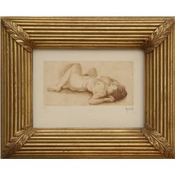 M. Morales, Nude, Etching