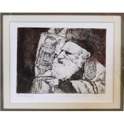 Charles Bragg, Rabbi with Torah, Etching
