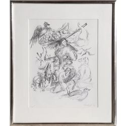 Chaim Gross, Biblical Scene, Pen Drawing
