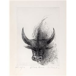 Gabor Peterdi, Black Bull, Etching