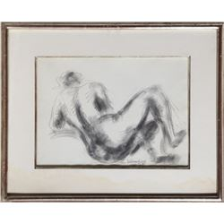 Chaim Gross, Posing Nude, Graphite Drawing