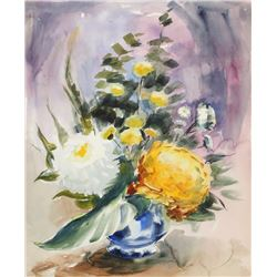Eve Nethercott, Large Flowers in Vase, Watercolor Painting