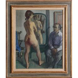 Moses Soyer, H.G. with Standing Nude, Oil Painting