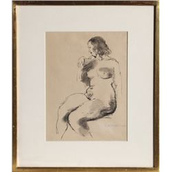 Raphael Soyer, Seated Nude, Ink Drawing