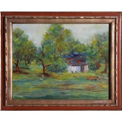 Laura Wolf, Barn in Landscape, Oil Painting