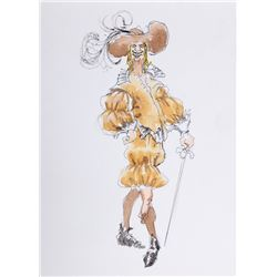R. Jeronimo, Man Large Hat Renaissance Costume with Sword, Watercolor Drawing