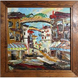 Morris Katz, Village Scene, Oil Painting