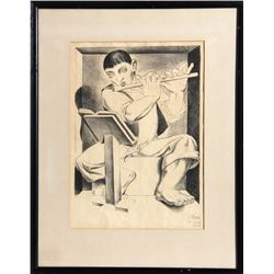 Luis Alberto Acuna, Boy with Flute, Lithograph