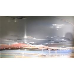 Elba Alvarez, Beach Scene with Clouds, Acrylic Painting