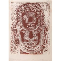 Roberto Juarez, Father and Son (Red), Woodcut