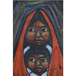 Arturo Nieto, Brother and Sister, Gouache Painting