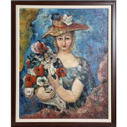 Luis Quintanilla, Woman with Flowers, Oil Painting
