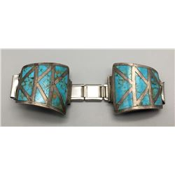Vintage Turquoise Inlay Watch Band