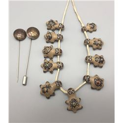 Pottery Necklace and Pins