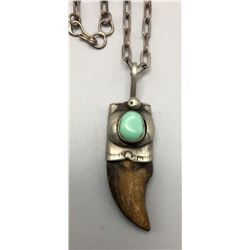 Turquoise and Bear Claw Necklace