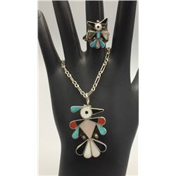Zuni Inlay Ring and Necklace