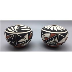 Pair Of Acoma Seed Pots - Signed