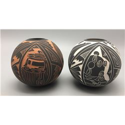 Pair of Acoma Seed Pots - Marked A.C.