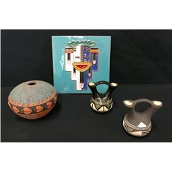 Acoma Pot, 2 Navajo Pots & Kachina Tile