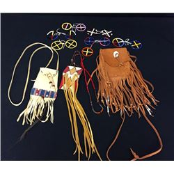 Group Of 3 Leather Pouches & Medicine Wheels