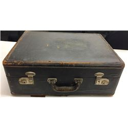 Antique Leather Trimmed Suitcase