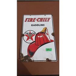 "Original Porcelain Fire Chief Texaco Sign, Stamped 1947 (12""x18"")"