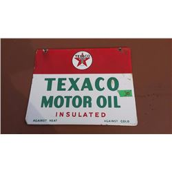 "Original DS Porcelain Texaco Motor Oil Sign, Stamped 1947 (14""x11"")"