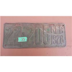 1926 Tin License Plate