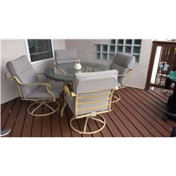 Glass Top Pario Table W/ Swivel Chairs (4)