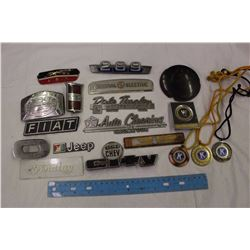 Lot of Vehicle Emblems, Medals, Etc
