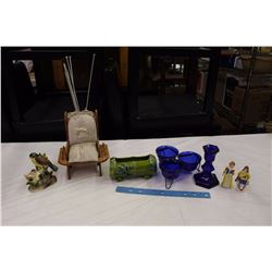 Lot of Misc (Cobalt Blue Glassware, Sewing Stand, Etc)