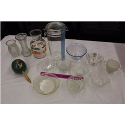 Lot of Vintage Glassware (Sewing Bowls, Vases, Etc)