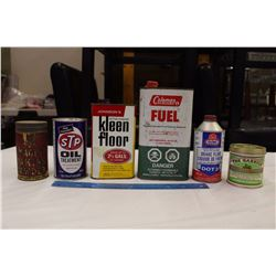 Lot of Tins (6)(The Garrick Cigarette, STP Oil, Gunk Brake Fluid, Etc)