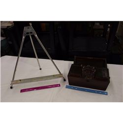 Vintage Sewing Kit/Box& A Small Art Easel
