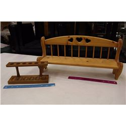 Wooden Pipe Holder/Rack& A Wooden Wall Display
