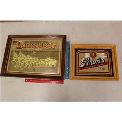 Advertising Mirrors (2)(Budweiser & Stroh's)