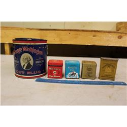 Tobacco Tins (5)(George Washington, Hickory, London Dock, Etc)