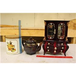 Jewellery Music Box, Kettle, And A Canister