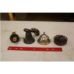 Lot Of Vintage Lamp Parts, Hotel Bell