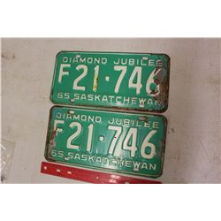 Pair Of 1965 Licence Plates