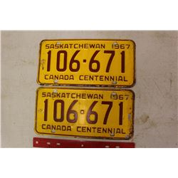 Pair of 1967 Licence Plates