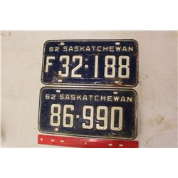 Pair of 1962 Licence Plates