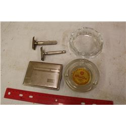 Lot Of Safety Razors, Ashtrays, Etc