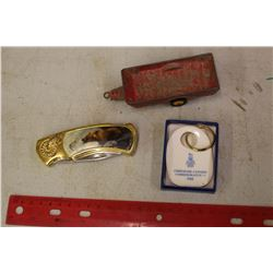 Lot Of Vintage (Dinky Toy, Royal Dalton Keychain, Decorative Knife)