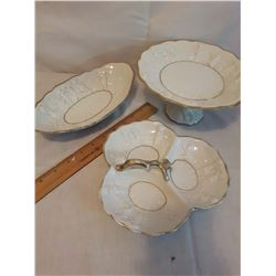 3 Gold-Trimmed White Ceramic Candy Dishes w/Cherubs