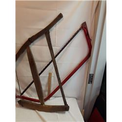 Old Wooden Bucksaw & A Bow Saw