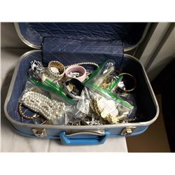 Small Blue Head Backed Suitcase w/Costume Jewellery