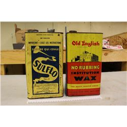 Old English Wax Container And 1 Gal Sulfo Sulpher Can