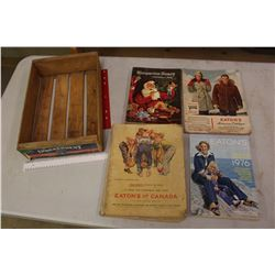 Lot OF Older Catalogues W/ Wood Apple Box