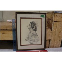 Framed Pencil Sketch By K. Collican